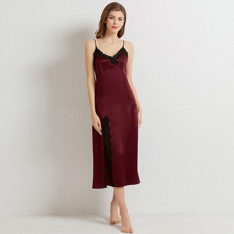 Silk Long Nightdress Lady's Lace Sexy Side Slit 100% Mulberry Silk  Dress