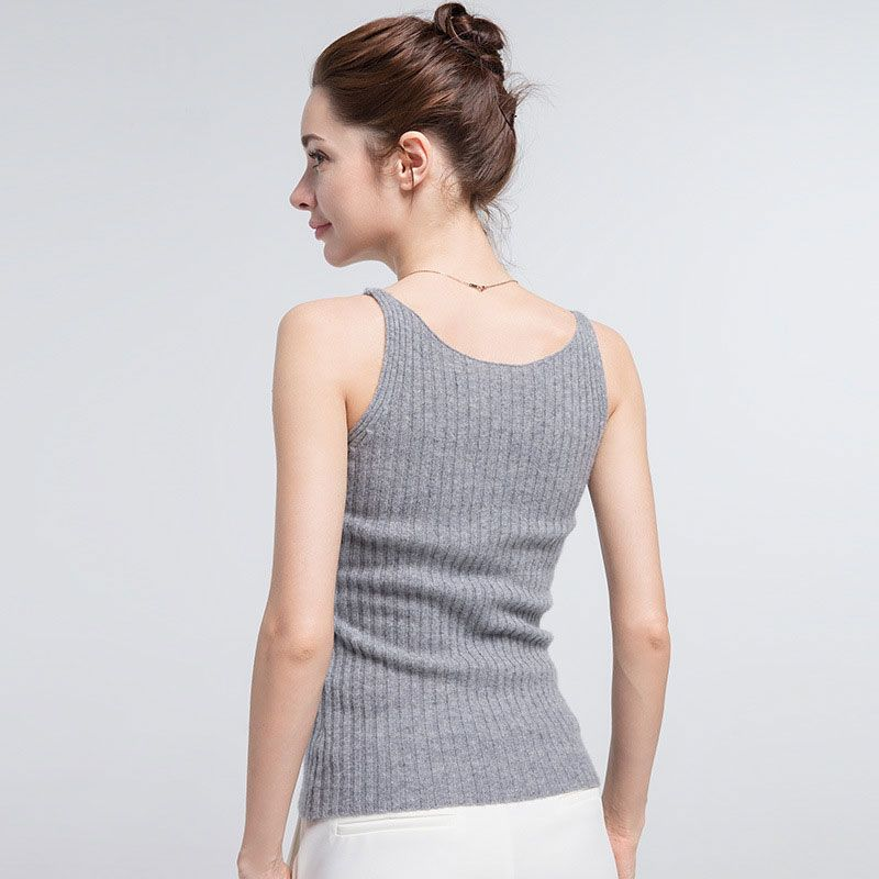 Women Camisole 100% Cashmere Knit Spaghetti Strap Tank Top  for Women Layering