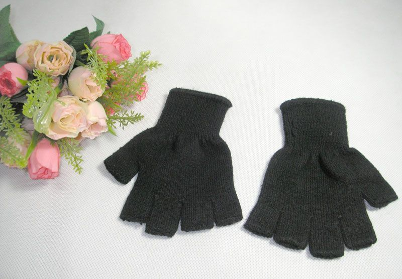 1 Pair Knit Silk Cashmere Blend Finger-less Gloves