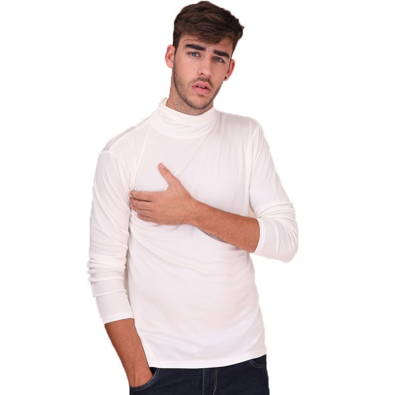 Pure Heavy Weight Silk Knit Mens  Turtleneck Comfy Top Solid Size S M L XL