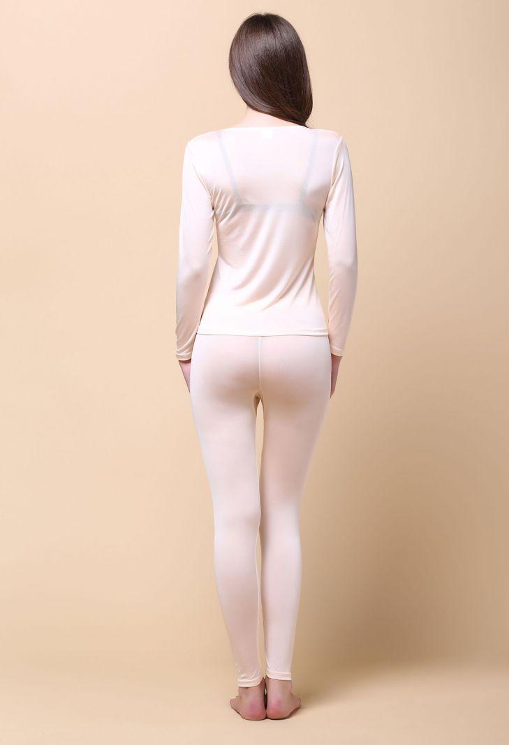 Pure Silk Knit Women Underwear Long Johns Top and Bottom Set