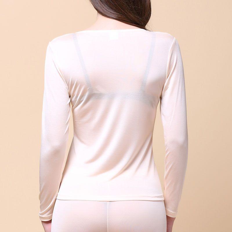 Pure Silk Knit Women Underwear Long Johns Top Only Long Sleeve Thermal Shirt