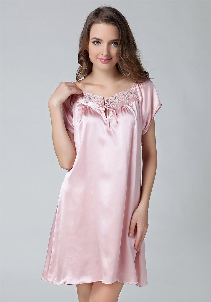 Pure Silk Darwstring Lace Neck Short Sleeves Chemise