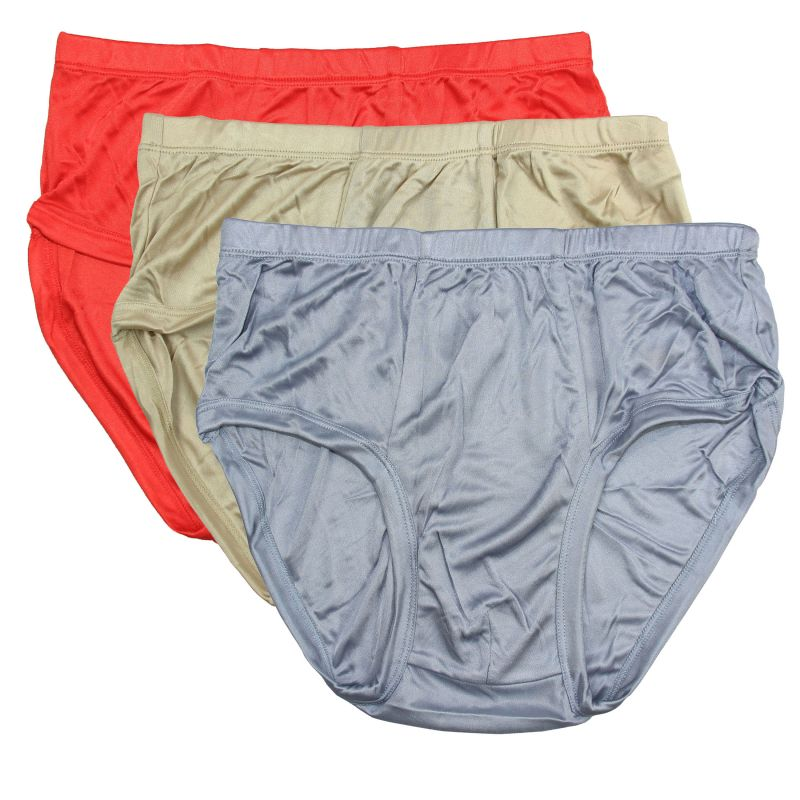 Knit Pure Silk Men'S Briefs Underwear (Pack of 3) Solid Brief US Size M L XL