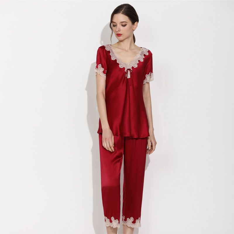 Natural Silk Pajamas Short Set Women's Short-sleeved pants Two-Piece Suit Breathable Summer Lounging Wear