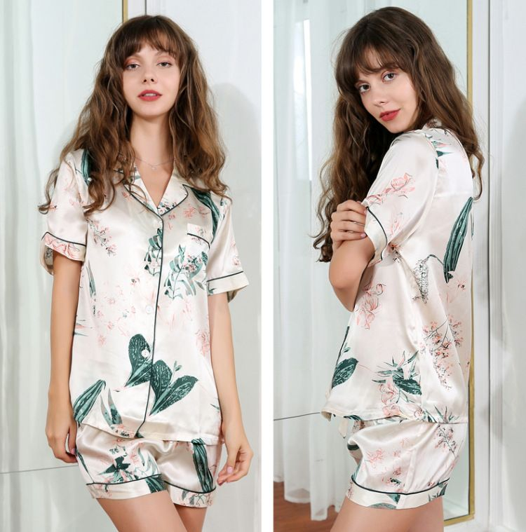 Women's Silk Pajamas Short 100% Natural Silk Top & Bottom Two-Piece Floral Print Cream Color Loungewear