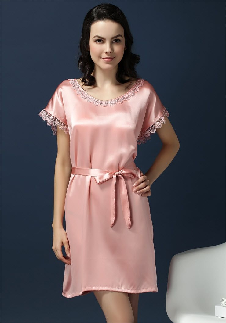 Pure Silk Women Lacy Short Sleeves Chemise 1328