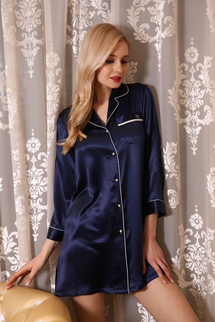 Pure Silk Nightshirt Womens Long Sleepshirt Three-quarter Sleeves