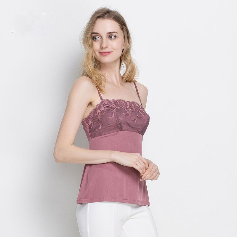 100% Silk Mesh Womens Camisole With Embroidery