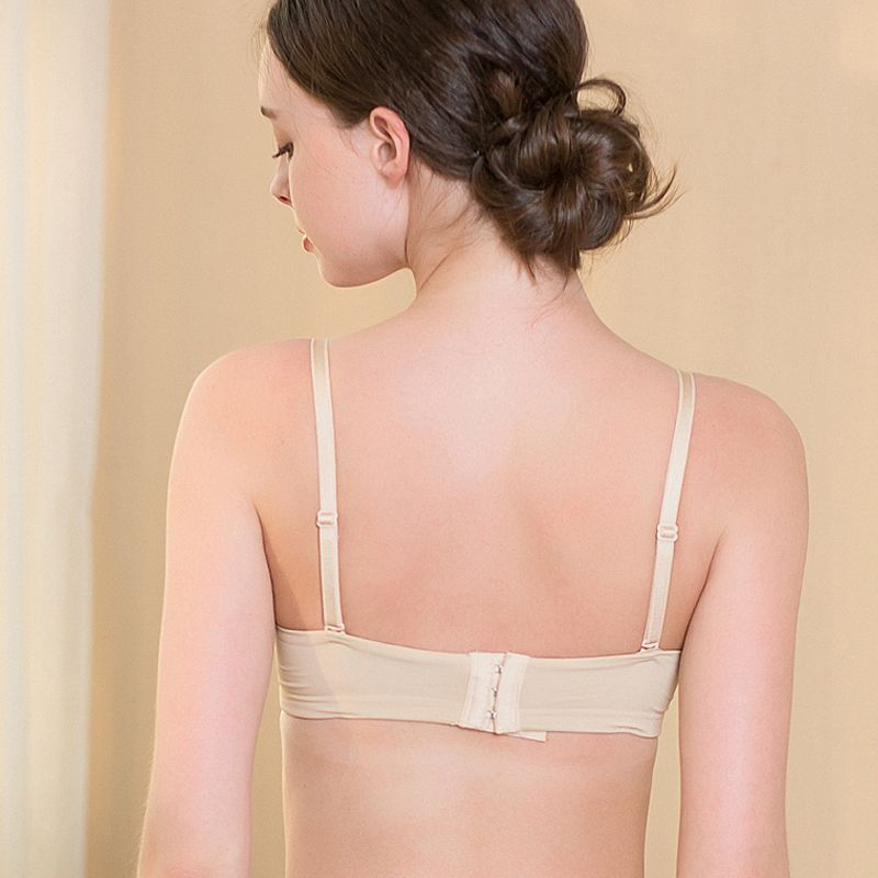 Natural Silk Knit Wire Free Push Up Bra Breathable back