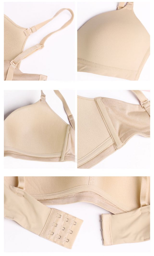 Natural Silk Knit Wire Free Push Up Bra Breathable details