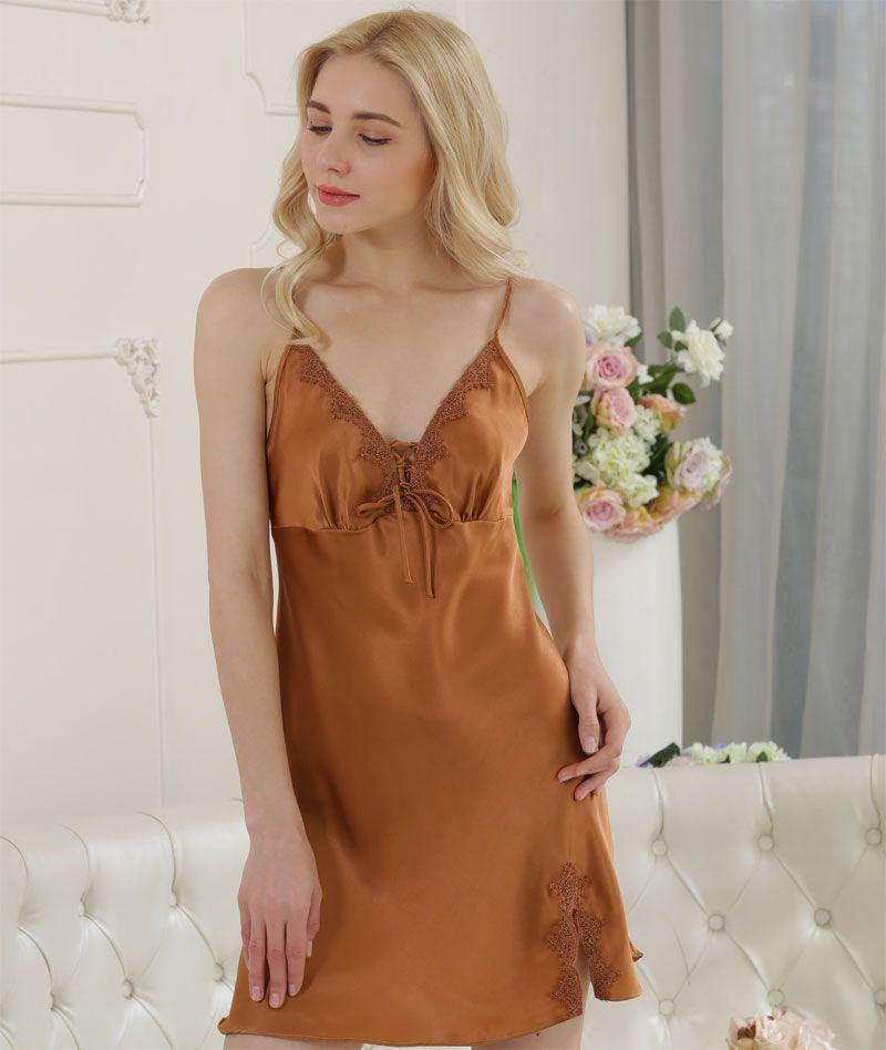 Pure Silk Womens Sexy Lace Short Slip Sleepwear1725