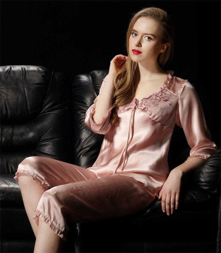 Pure 16.5mm Silk Ladies Pajamas Short Set Size  SSH1311
