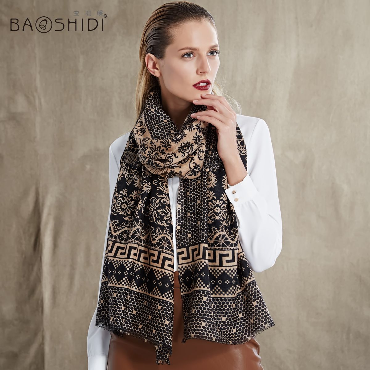 Beautiful 100% Wool Scarf Printing Oblong Scarves Extra Larg L79XW29 2113151430