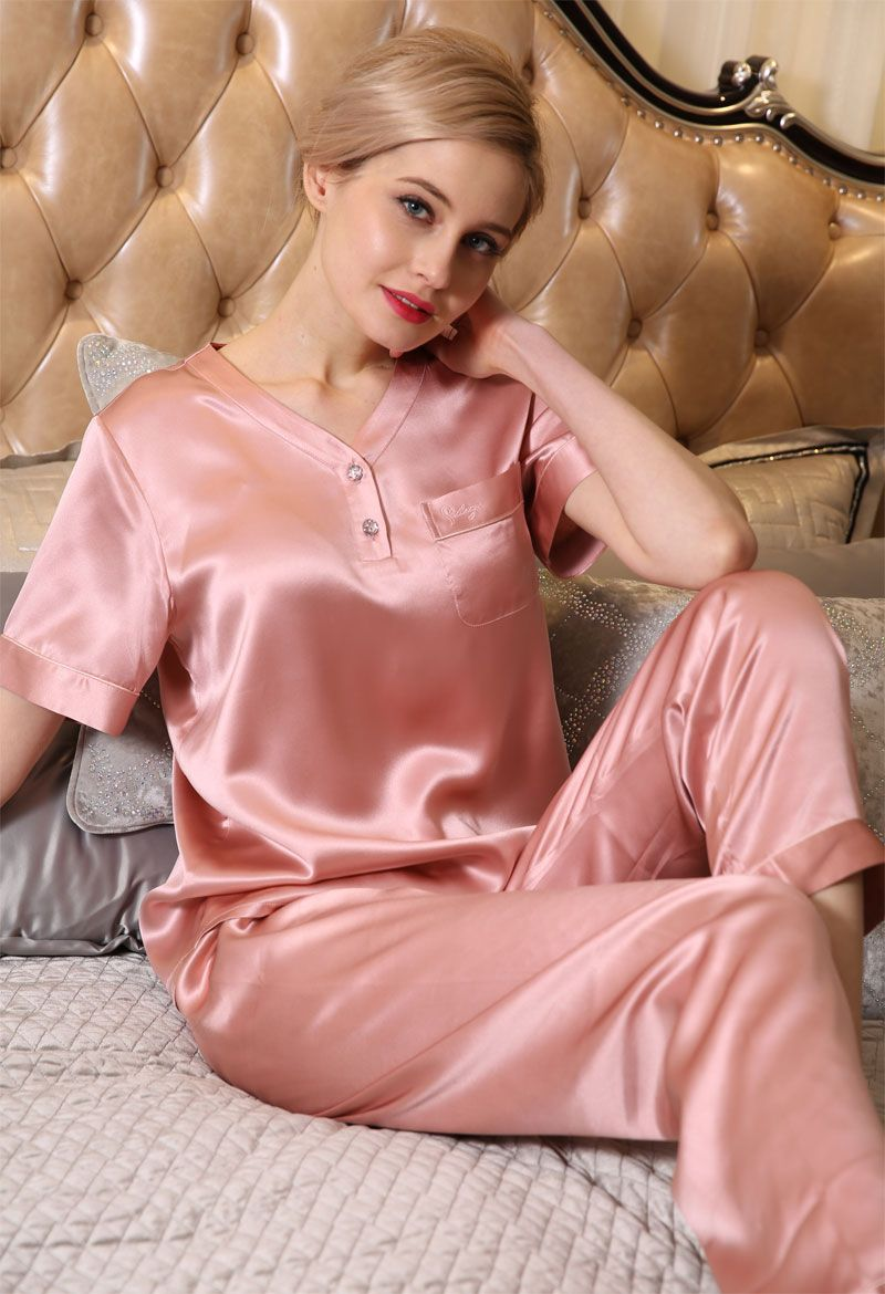 Pure 19MM Silk Couples Pajamas Short Set For Women Only 7006