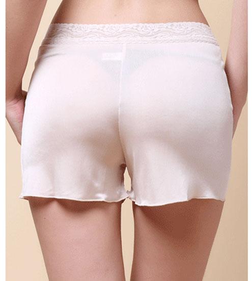 Damen Reine Seide Jersey Spitze Taille Legging Panty Shorts